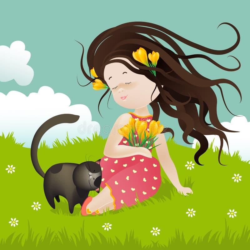 有猫的女孩坐草 库存例证