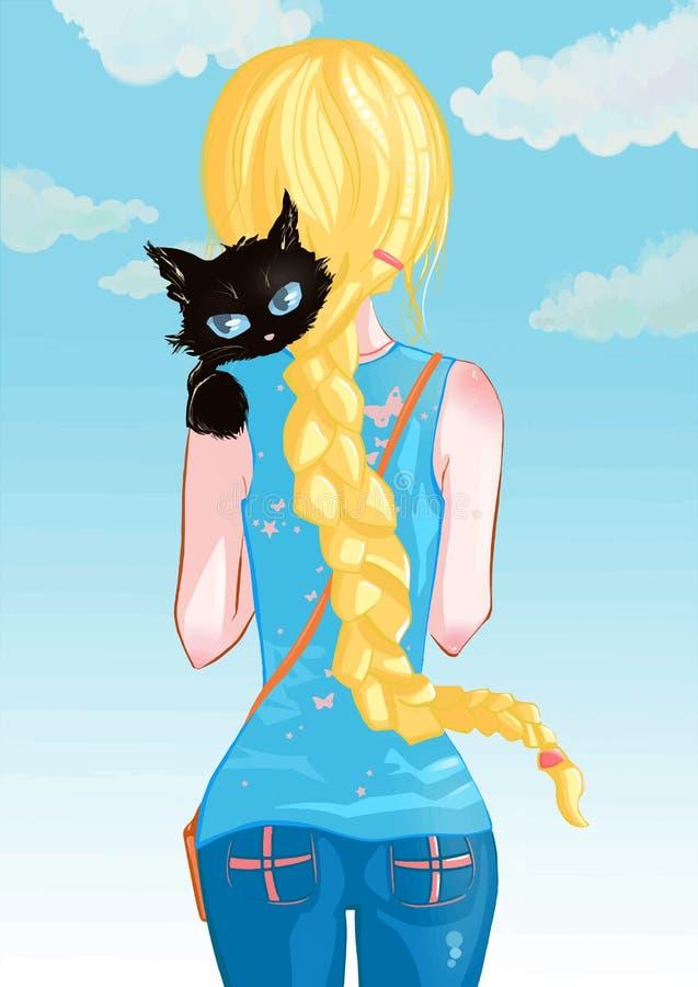 有猫的女孩 向量例证