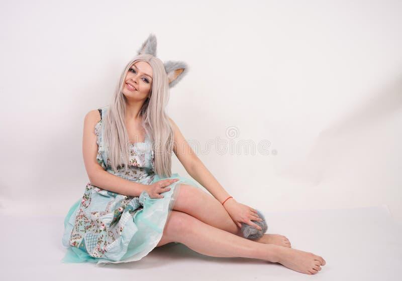 有猫耳朵的俏丽的嬉戏的少女和长的蓬松在被隔绝的白色背景的毛皮尾巴佩带的厨房围裙 库存图片