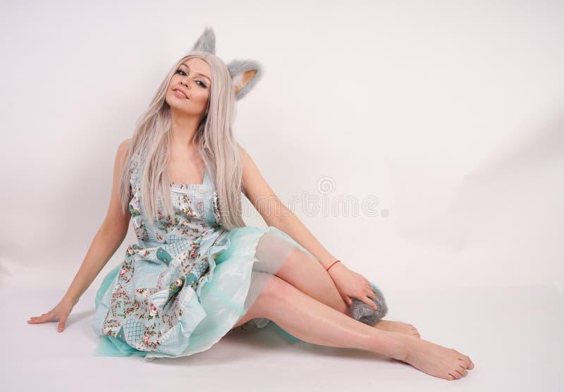 有猫耳朵的俏丽的嬉戏的少女和长的蓬松在被隔绝的白色背景的毛皮尾巴佩带的厨房围裙 免版税库存照片