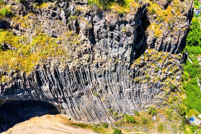 有玄武岩专栏形成的Garni峡谷 r 库存图片