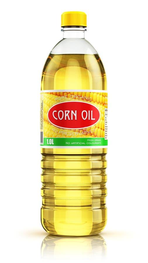 有玉米油的塑料瓶 向量例证
