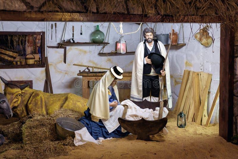 有玛丽亚和大卫的耶稣基督婴孩在特内里费岛海岛上 免版税库存图片