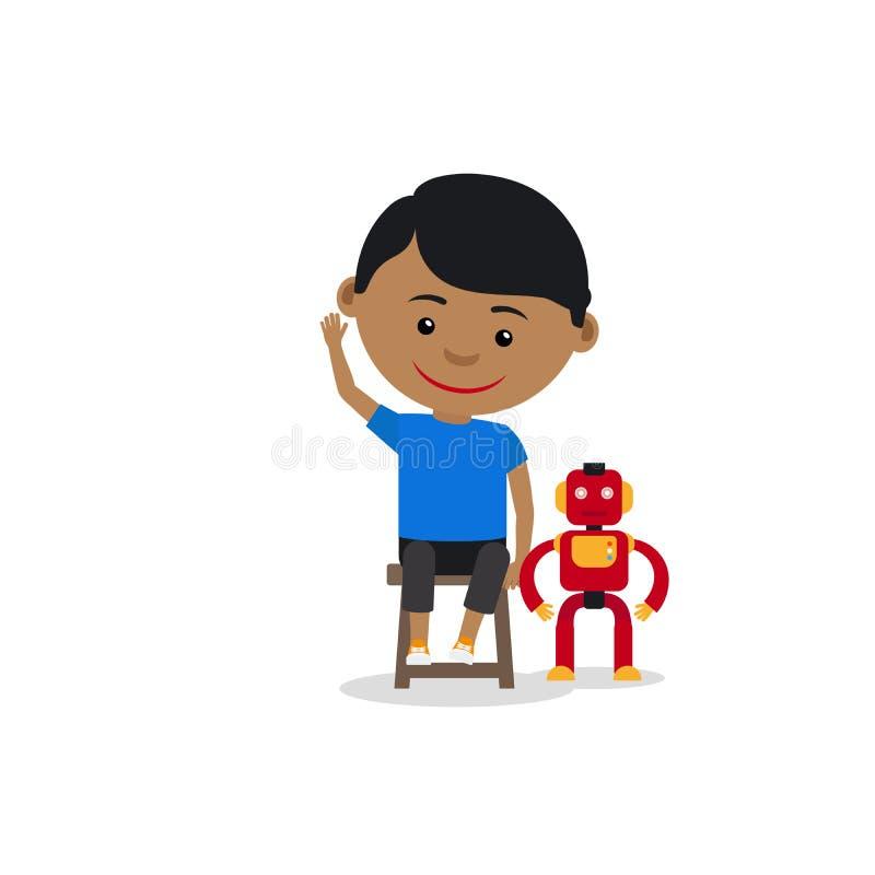 有玩具机器人的印地安男孩 向量例证