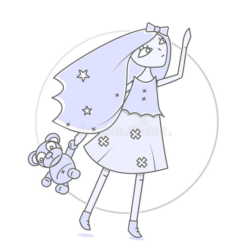 有玩具熊的迷人的女孩在手中 书和杂志的现代例证 往天空的舒展 库存例证
