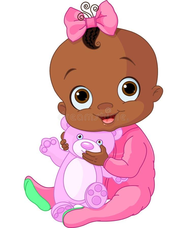 有玩具熊的逗人喜爱的女婴 向量例证