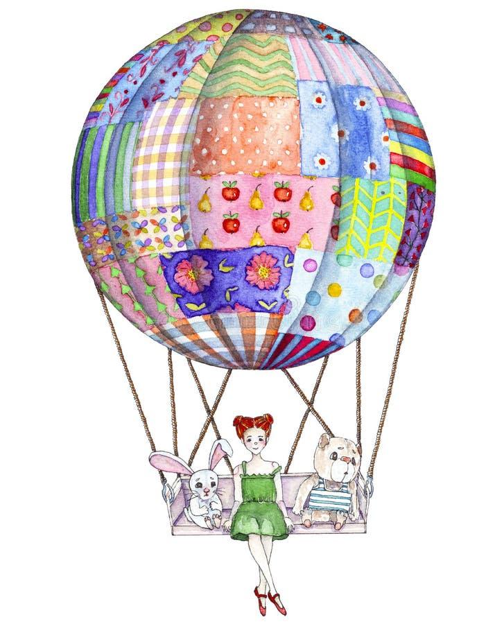 有玩具的女孩在从补缀品毯子的气球 向量例证