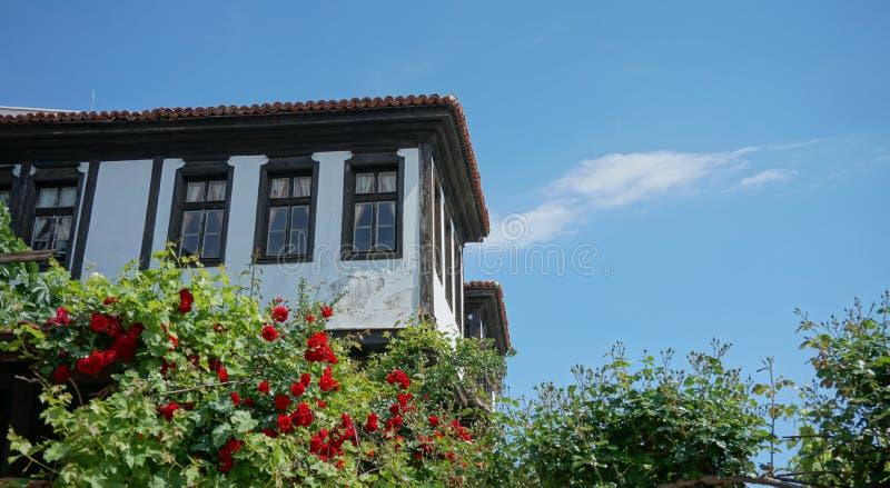 有玫瑰的传统老房子 图库摄影