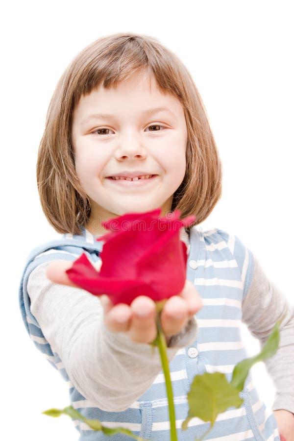 有玫瑰的女孩 免版税库存图片