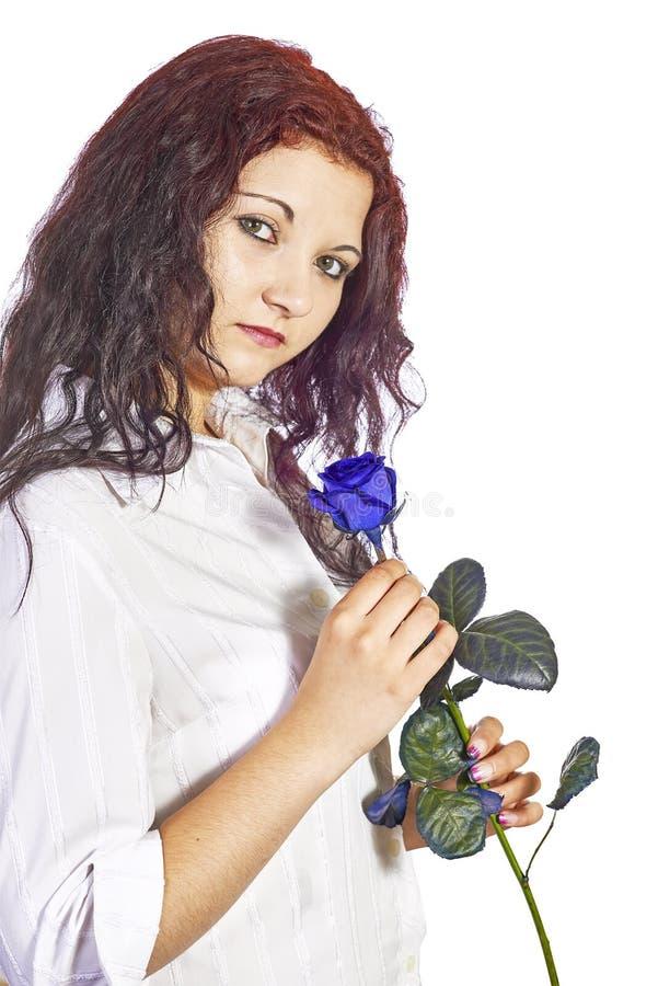 有玫瑰的女孩 库存图片