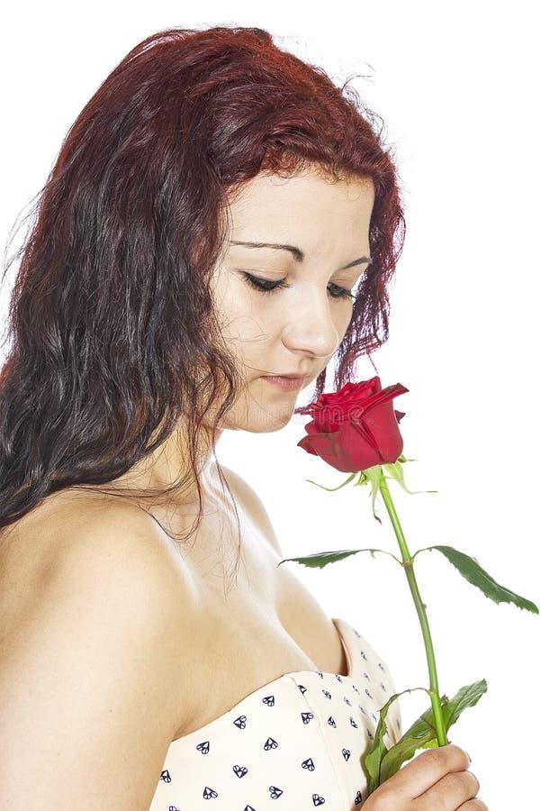 有玫瑰的女孩 免版税库存照片