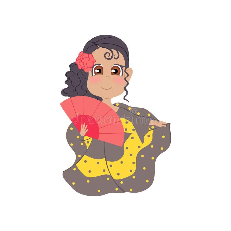 有玫瑰的逗人喜爱的微笑的西班牙女孩在头发和波浪礼服 库存例证