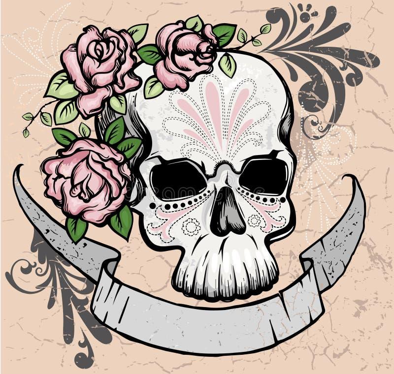 有玫瑰的头骨 库存例证