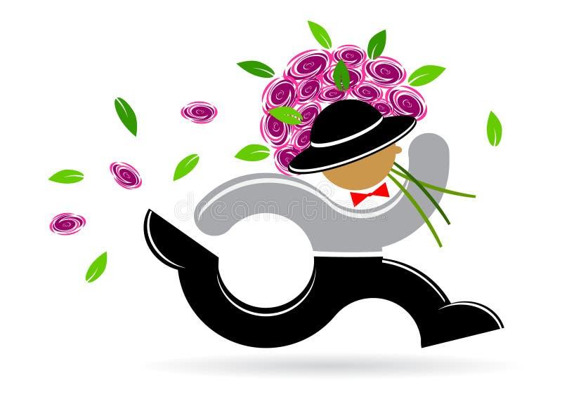 有玫瑰花束的人  向量例证