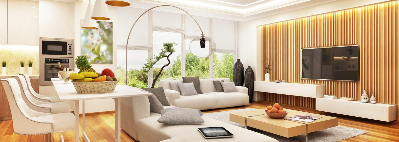 有现代厨房的现代客厅一空间的 免版税库存图片