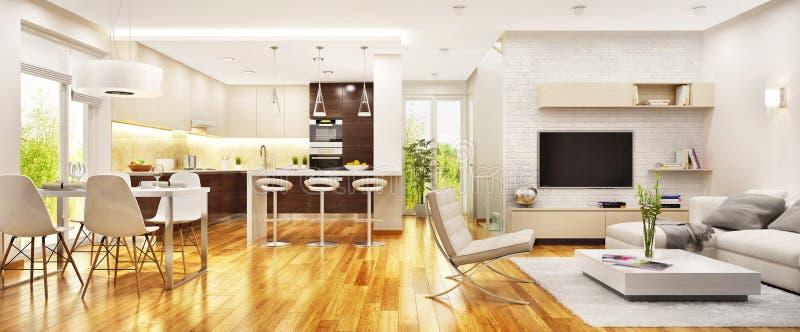 有现代厨房的现代客厅 免版税库存照片