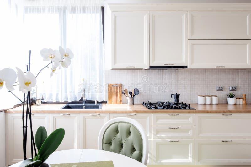 有现代家具和花的当代厨房 现代的室内设计 免版税库存照片