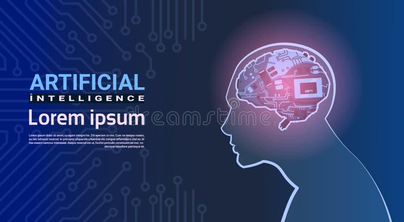 有现代靠机械装置维持生命的人脑子机制的人头在电路主板背景人工智能概念 库存例证