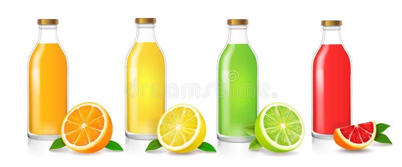 有现实柑橘包装的集合的玻璃汁液瓶 库存例证