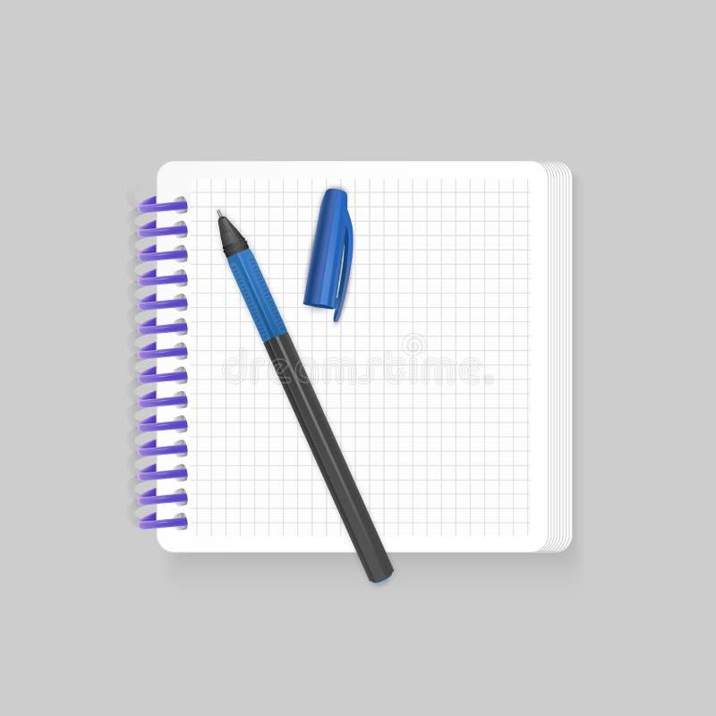 有现实蓝色笔的空白的螺旋笔记薄笔记本在白色背景 为您的词条,传染媒介显示假装  库存例证