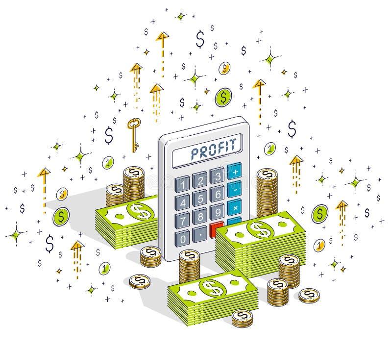 有现金在白色背景和硬币堆的计算器隔绝的金钱堆,赢利概念 3d等量传染媒介的事务 皇族释放例证