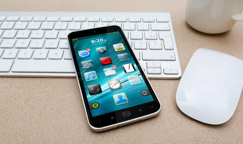 有现代手机的工作场所 库存例证