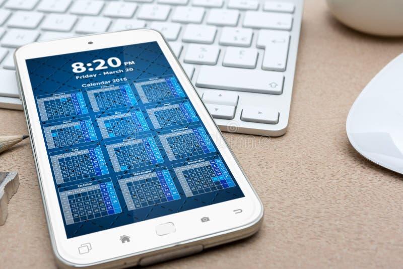 有现代手机的工作场所 向量例证