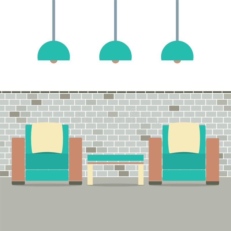 有现代灯的沙发在砖背景 皇族释放例证