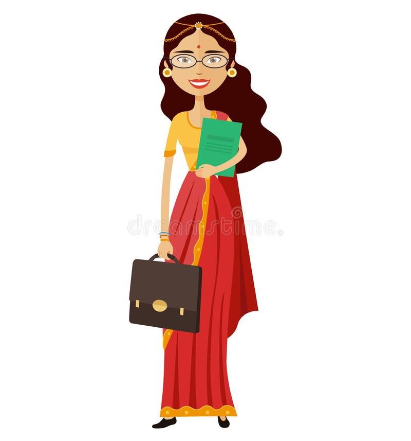 有玻璃和公文包平的动画片vectorl的印地安银行家或工作者夫人 皇族释放例证