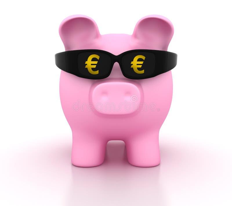 有玻璃和欧元标志的存钱罐 皇族释放例证