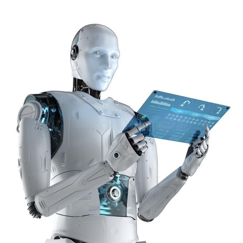 有玻璃片剂的机器人 皇族释放例证