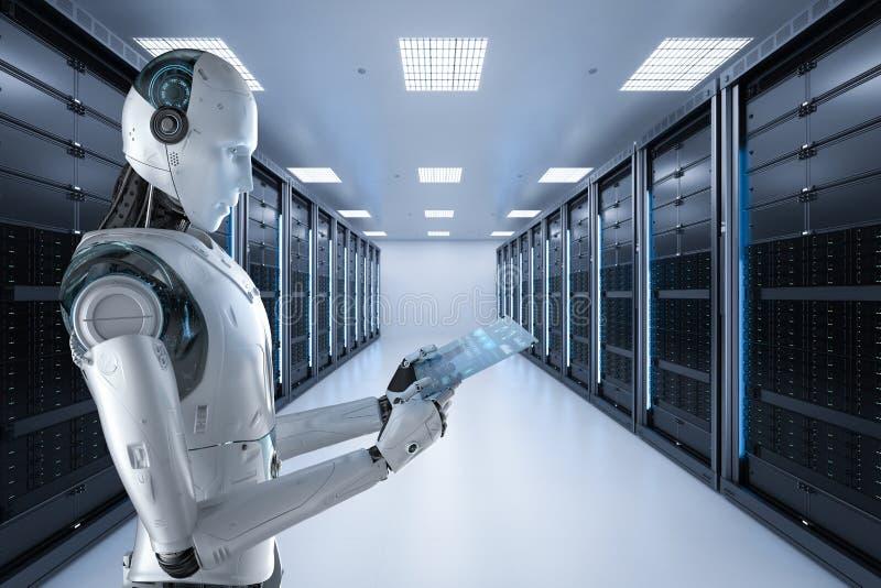 有玻璃片剂的机器人 库存例证