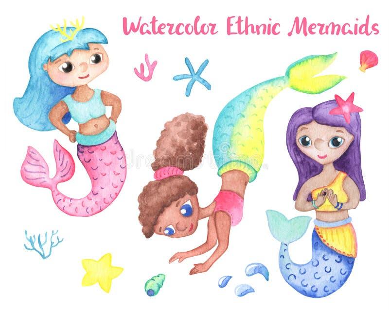 有珊瑚和壳的五颜六色的美人鱼女孩 不同的国家美人鱼 为女孩生日设置的水下的公主 皇族释放例证