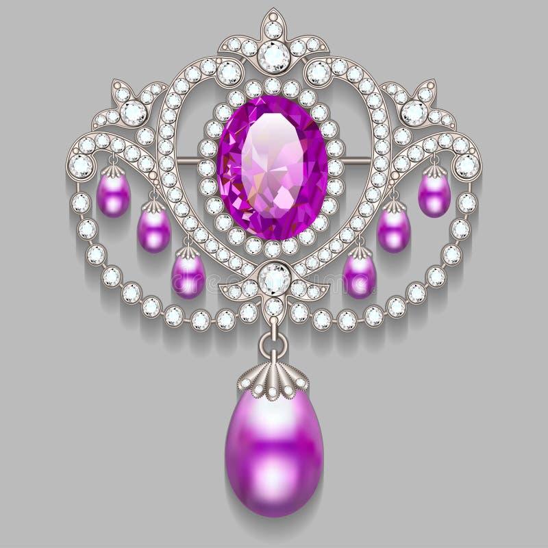 有珍珠和宝石的别针 金银细丝工的v 皇族释放例证