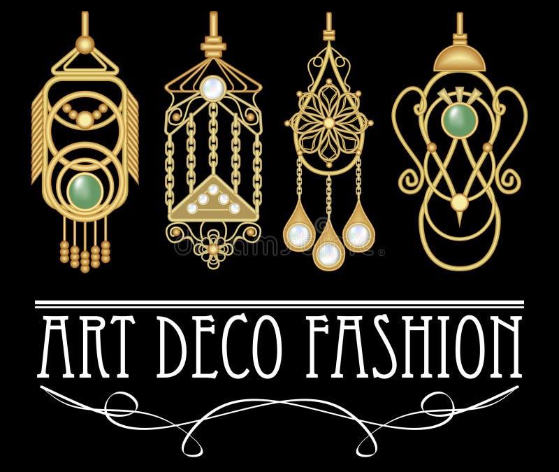 有珍珠和绿宝石的金黄耳环在艺术装饰样式 套四件独特的古老珠宝,典雅的原始的金银细丝工的垂饰 皇族释放例证