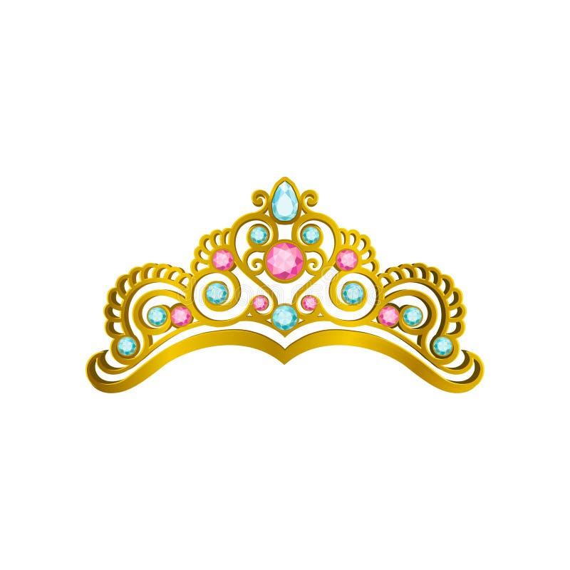 有珍贵的桃红色和蓝宝石的金黄女王/王后冠 导航发光的公主冠状头饰象在现实样式的 消耗大 向量例证