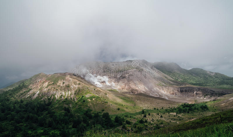 有珠山,在洞爷湖,北海道, j南部的活火山  图库摄影