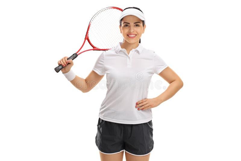 有球拍的女性网球员 库存照片