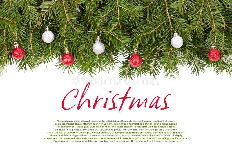 有球的圣诞节枝杈 库存图片