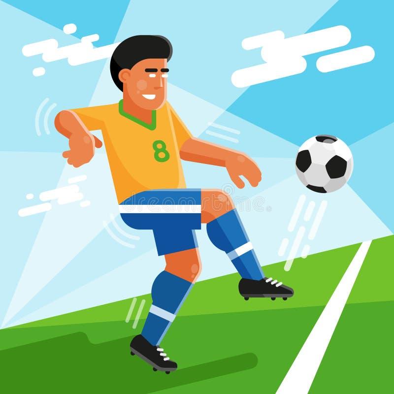 有球的巴西足球运动员在橄榄球场 库存例证