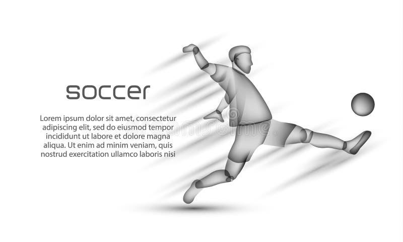 有球的足球运动员在行动 与一位足球运动员的一个透明黑剪影的橄榄球横幅白色背景的 皇族释放例证