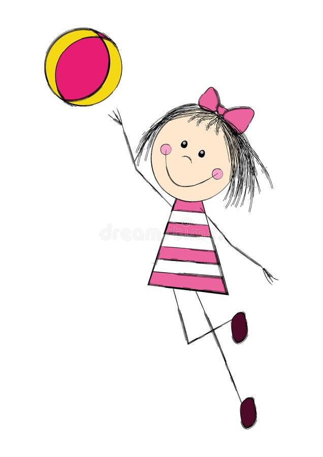 有球的逗人喜爱的小女孩 库存例证