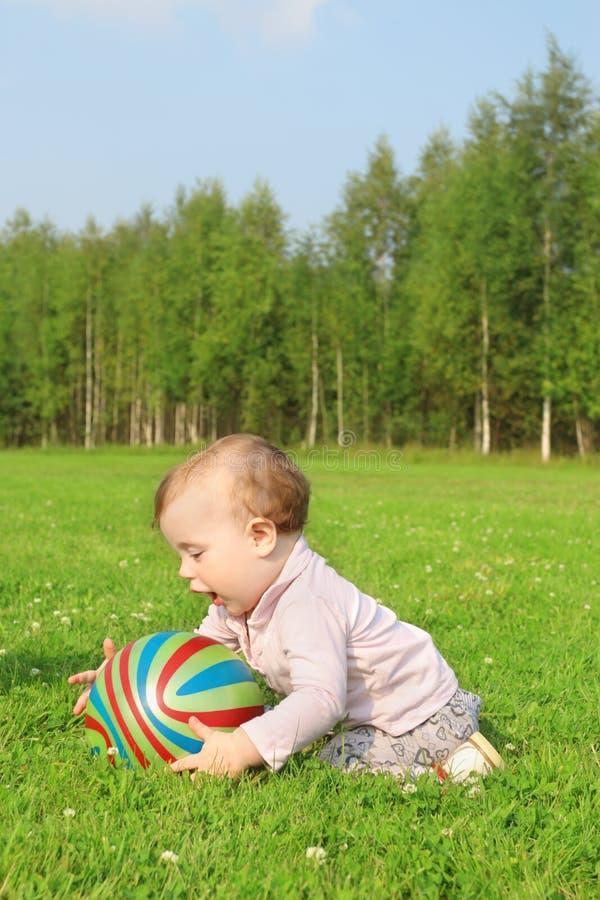 有球的逗人喜爱的愉快的婴孩坐绿草 库存照片