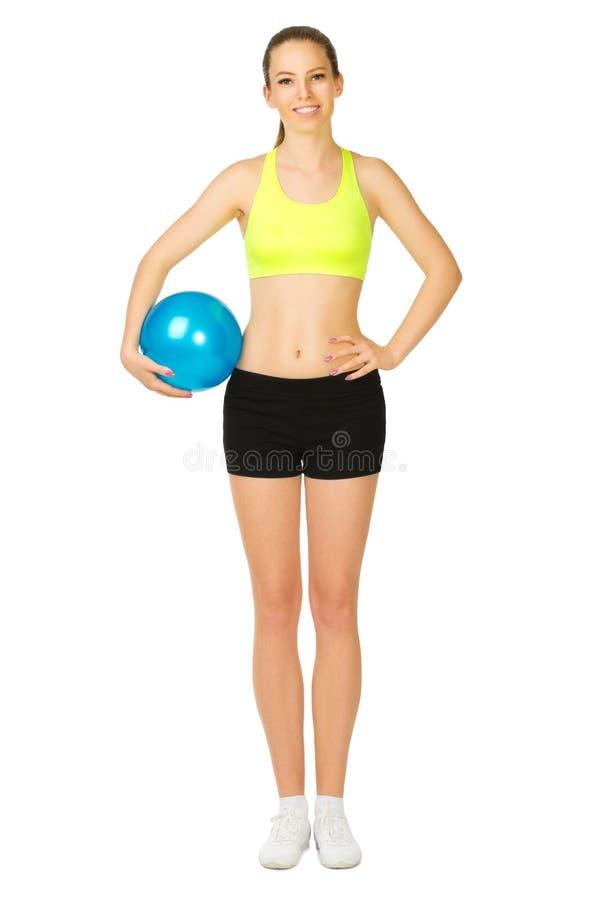有球的年轻运动的女孩 库存图片