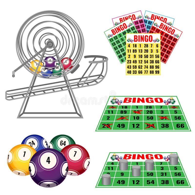 有球,宾果游戏里面卡片和球的,票抽奖机器 库存例证