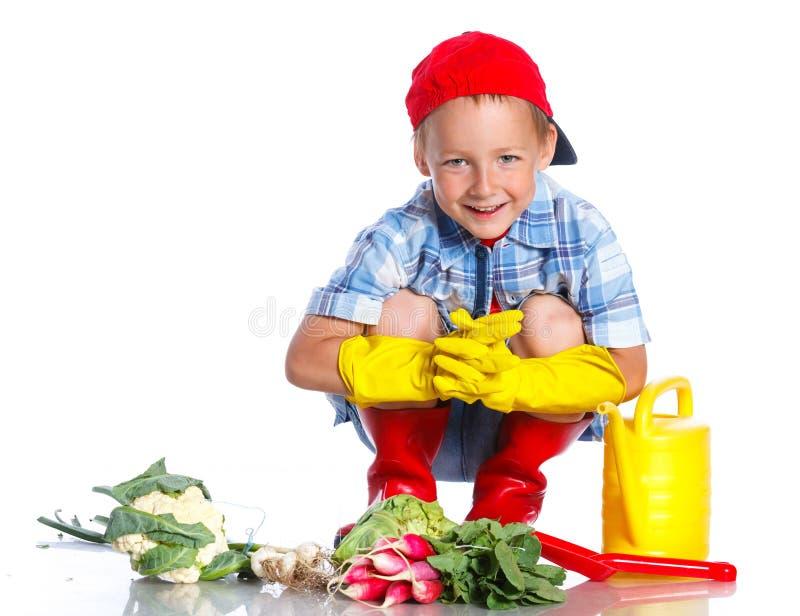 有瓢、新鲜的有机菜和喷壶的逗人喜爱的小男孩 免版税库存照片