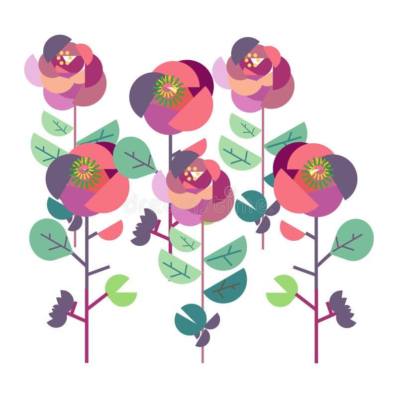 有瓢虫的五颜六色的玫瑰园 库存例证