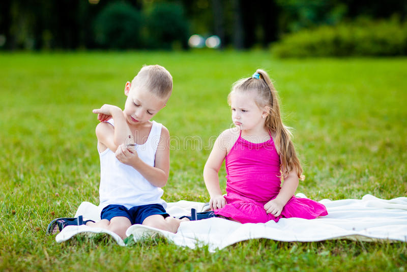 有瓢虫的小男孩和女孩在公园 库存图片