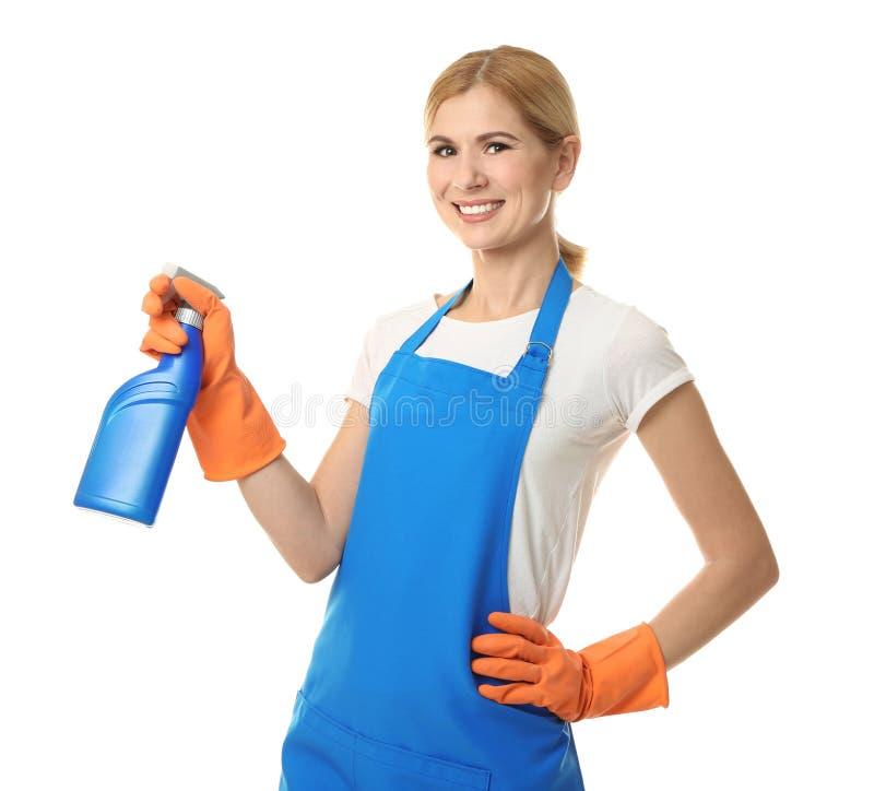 有瓶的俏丽的妇女洗涤剂 免版税库存图片