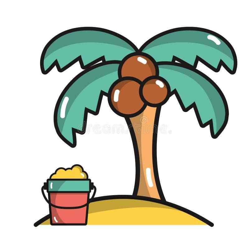 有瓶的棕榈在海滩的沙子在度假 皇族释放例证